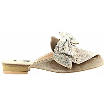 CAPE ROBBIN Adel-20 Women Mule Oxford Slide Slip On Flat Rhinestone Embellished Shoe Nude