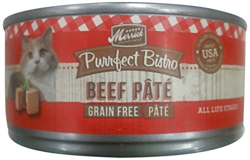 Merrick Purrfect Bistro Grain Free Beef Pate Canned Cat Food, 5.5 oz, Case of 24 For Sale