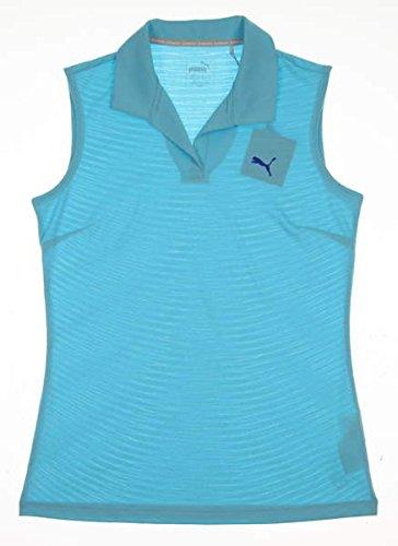 (PUMA New 2017 Womens Jacquard Sleeveless Golf Polo Small S Nrgy Turquoise)