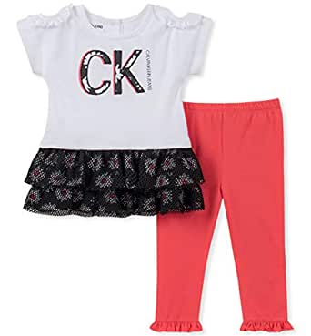 Calvin Klein Baby Girls 2 Pieces Legging Set Pants, White/Black/Bright Coral, 3-6 Months