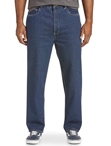 Harbor Bay by DXL Big and Tall Loose-Fit Denim 5 Pocket Jeans Stone Wash 50 X 30