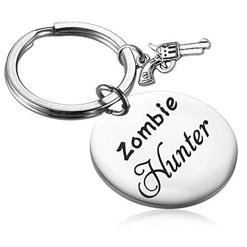 AKTAP Zombie Keychain Zombie Hunter Gift for Zombie Lovers Gun Charm Keychain (Zombie Hunter Keychain)]()