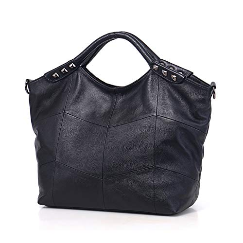 Tote Designer Bag Shoulder Purse Genuine Iswee Handbag Large Black Bag Body Cross Hobo Leather wAgCTq