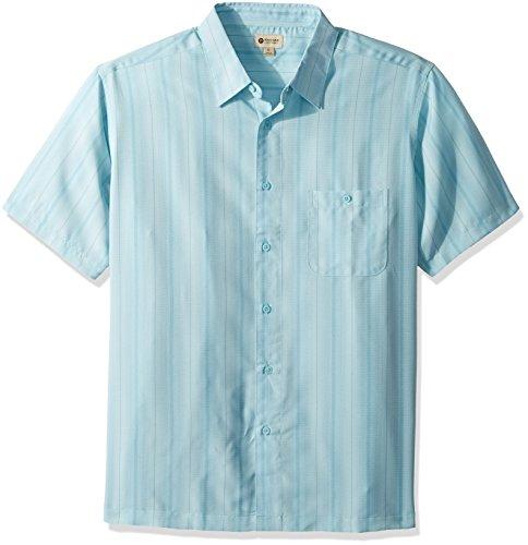 Haggar Men's Short Sleeve Microfiber Woven Shirt, Still Water/Blue, L