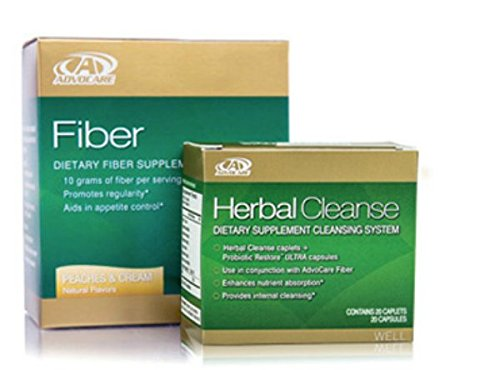 Advocare Herbal Cleanse & Peach & Cream Fiber Kit + Bonus>Herbal Cleanse 20 Capsules & Fiber 10 Pouches by AdvoCare