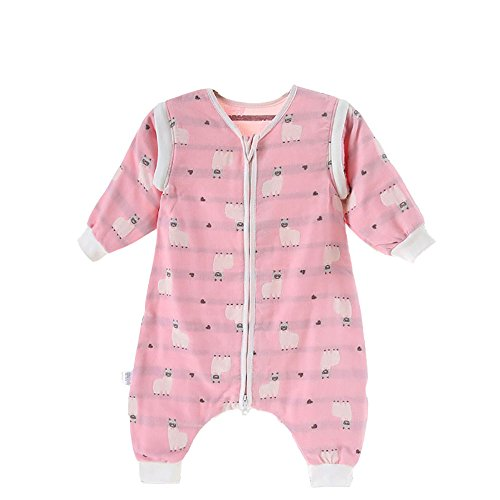 EsTong Baby Toddler Cotton Sleep Bag and Sack Detachable Sleeve Wearable Blanket Pink Lambs Large by EsTong