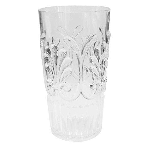 Le Cadeaux Set of 8- 21 Ounces Clear Fleur Drinkware