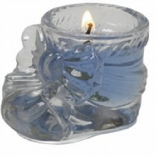 - Crystal Baby Bootie with Blue Gel Candle