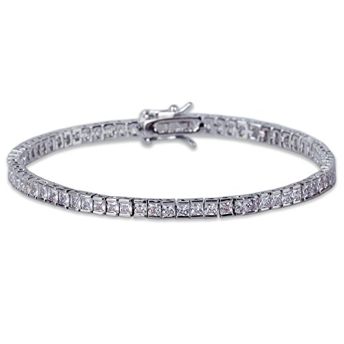 JINAO 1 Row AAA All Iced Out Tennis Bling 4-6mm Square Cut Lab Simulated Diamond Bracelet 8