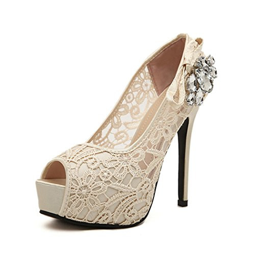 Autumn Melody Fashion Summer Sandals Hollow Lace Embroidered Peep-toe Elegant Women High Heels