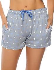 Hawiton Women's 1 & 2 Pack Star Pattern Cotton Sleeping Pajama Shorts Lounge Boxer Drawstring