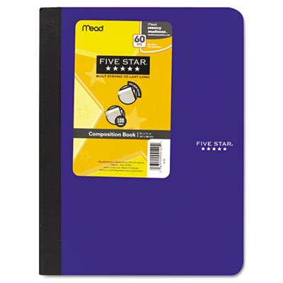 Five Star 09120 Composition Book, College Rule, 9 3/4 x 7 1/2, 1 Subject, 100 Sheets, -