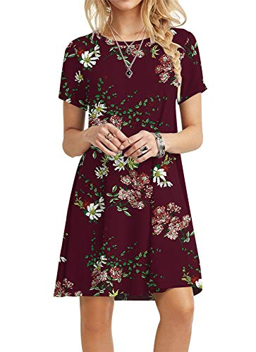 - POPYOUNG Women's Summer Casual T-Shirt Dresses Beach Dress Small, Floral Wine