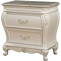 ACME Chantelle Pearl White Nightstand with Granite Top