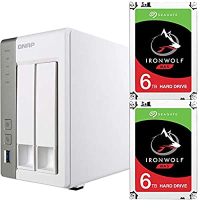 Qnap TS-231P-US Personal Cloud NAS Bundle Assembled and Tested with 12TB (2 x 6TB) of Seagate Ironwolf NAS Drives by CustomTechSales
