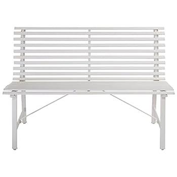"47"" Garden Bench White Gray Steel Outdoor Backyard Lawn Slat Back Seat Furniture"