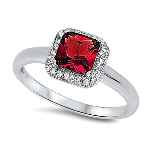 Halo Wedding Engagement Ring Princess Cut Square Simulated Red Ruby Round CZ 925 Sterling Silver ()