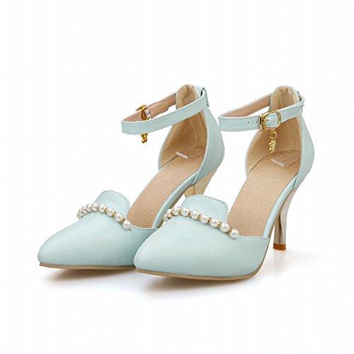 Carol Shoes Chic Womens Buckle Sweet Beaded Elegance Pointed-toe High Stiletto Heel Sandals Blue h5yRz