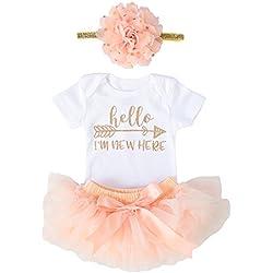 OoSweetCharlotteoO Newborn Baby Girl Coming Home Outfit Hello I am New here Bodysuits 3pcs (Newborn) (Newborn, Peach Short Sleeve)