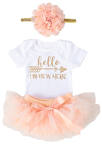 OoSweetCharlotteoO Newborn Baby Girl Coming Home Outfit Hello I am New here Bodysuits 3pcs (Newborn) (Newborn, Peach Short Sleeve)