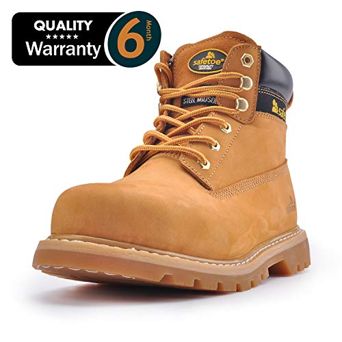 SAFETOE Safety Boots for Men Work Shoes- M8173 Women Wide Width Steel Toe Slip Resistant Leather Safety Shoes Yellow