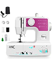 MIC Multi-Function Mini Portable Sewing Machine with LED Buttonhole 2 Speed Home Desktop Electric Overlock Machine 12 Stitches Thread Cutter, Functions 6 Stitches