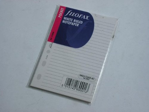 Filofax Pocket Size White Ruled Notepaper Refill Pack Manchester Stationery