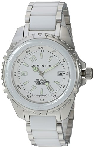 Momentum Women's Quartz Stainless Steel and Ceramic Diving Watch, Color:Silver-Toned (Model: 1M-DN63WS0C)