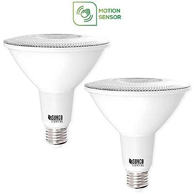 Sunco Lighting 2 Pack PAR38 LED Light Bulb with Motion Sensor, 13W=100W, 5000K Daylight, 1,100 LM, Indoor/Outdoor, Motion Activated LED Flood Light - UL & Energy