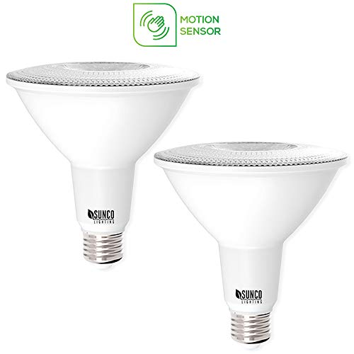Sunco Lighting 2 Pack PAR38 LED Light Bulb with Motion Sensor, 13W=100W, 5000K Daylight, 1,100 LM, Indoor/Outdoor, Motion Activated LED Flood Light - UL & Energy