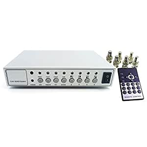 Podofo Hd Color Video Quad Splitter CCTV Video Camera Processor System Kit Switcher Metal Case with 6 BNC adapter