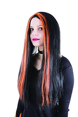 Ptit Clown P tit payaso – 11502 – Peluca bruja – negro – Mechas naranja