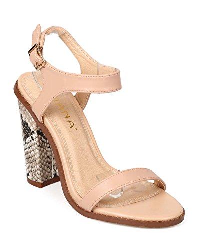 41cc072ff92 Liliana EK67 Women Leatherette Open Toe Snake Block Heel City Sandal - Nude  (Size  7.5) - Buy Online in Oman.