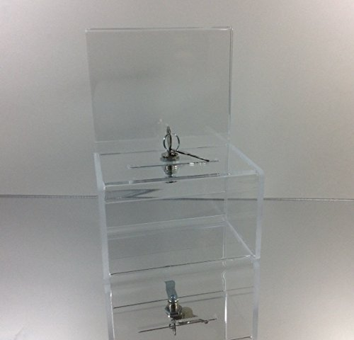 Dazzling Displays Clear Acrylic MINI Donation Box with Cam Lock and (2) Keys