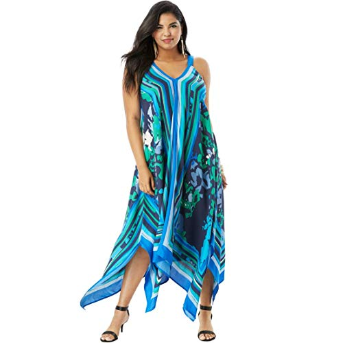 Roamans Women's Plus Size Scarf-Print Maxi Dress with Handkerchief Hem - Blue Abstract Floral, -