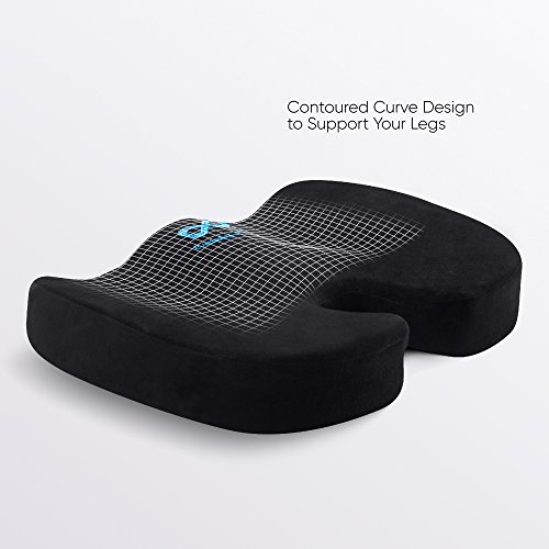 Everlasting Comfort 100% Pure Memory Foam Seat Cushion, Orthopedic Dr Recommended to Relieve Back, Hip, Tailbone, Sciatica & Coccyx Pain - Fits Office Chair and Car