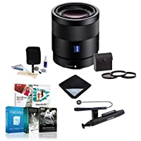 Sony Sonnar T FE 55mm F1.8 ZA E-mount NEX Camera Lens Bundle with 49mm Filters &Pro Software