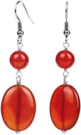 Sterling Silver 9.90 ct Fancy Red Agate Dangle Earring