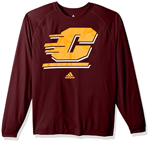 adidas NCAA Central Michigan Chippewas Adult Men Sideline Spine Climalite L/S Tee, Large, Maroon (Michigan Central Gear)