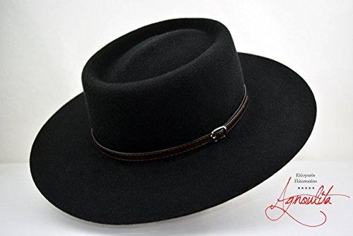 Black Wool Felt Gambler - Wide Brim Wool Felt Handmade Gambler Bolero Hat