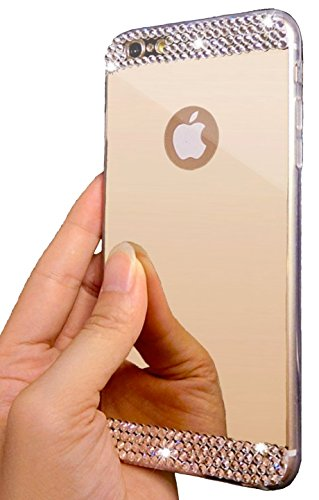 ✠+ FREE Screen Protector ✠| iPhone 6/6S Plus Luxury Hybrid Beauty Crystal Rhinestone With Gold Sparkle Hard Protective Diamond Case (iPhone 6/6S Plus Gold)