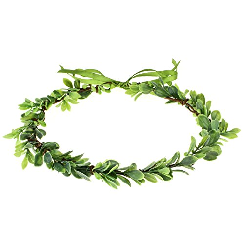 (Love Sweety Succulent Flower Crown Eucalyptus Halo Wedding Floral Headband Photo Prop (Leaf))