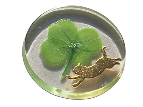 KIN-HEBI Real Four Leaf Clover Good Luck Pocket Token, Preserved, Including Metal cat Silhouette, 1.25