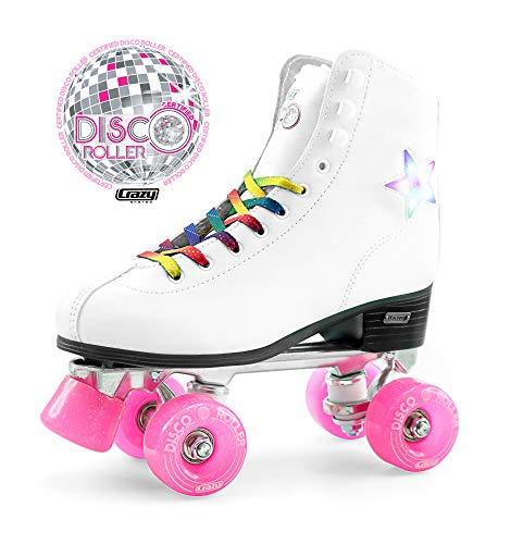 (Crazy Skates Disco Roller Skates | LED Light Up Flashing Stars | Classic Style with Rainbow)