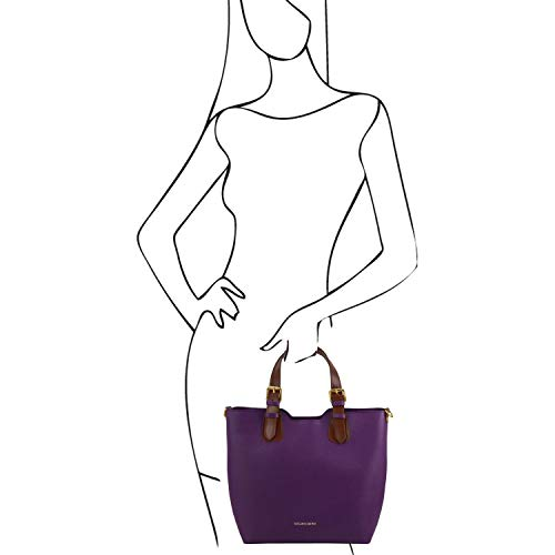 Saffiano Piel Violeta Leather Tuscany Negro Bolso en TL141696 Bag TL 1FwY6