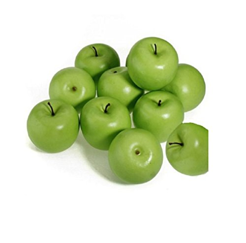 12pcs Decorative Large Artificial Green Apple Plastic Fruits Home Party Decor (Large Apple Green)