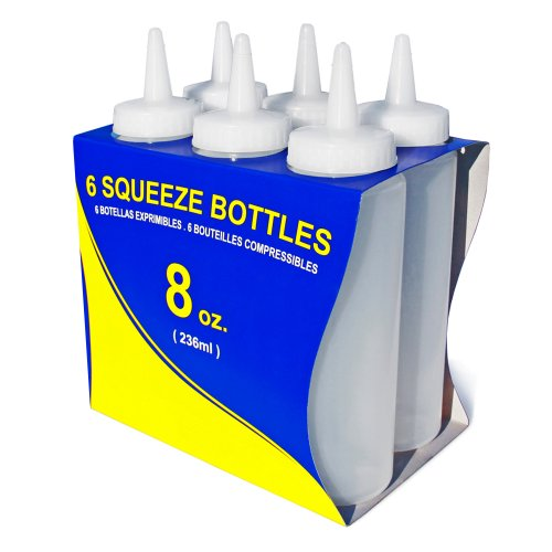 - New Star Foodservice 26115 Squeeze Bottles, Plastic, 8 oz, Clear, Pack of 6