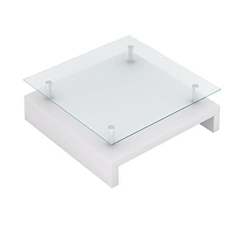 Vidaxl Table Basse De Salon Carree Plateau En Verre Structure Blanc