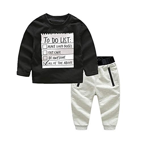 (xirubaby Kids Toddler Boys Handsome Black Blouse Tshirt+ Gray Casual Pants Outfits (140/6T, Black))