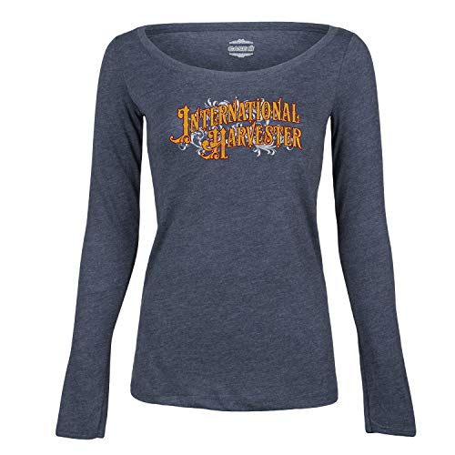 (IH Vintage Sign - CASE IH International Harvester Ladies Long Sleeve Tee Heather Blue)